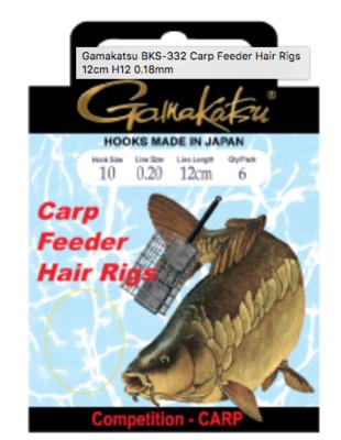 GAMAKATSU BKS-3323B FEEDER HAIR RIGS 12cm Lijn:  0.12 Haak:18