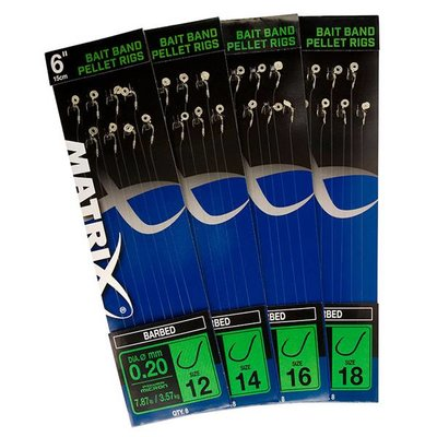 MATRIX BAIT BAND PELLET RIGS - BARBED SIZE 16